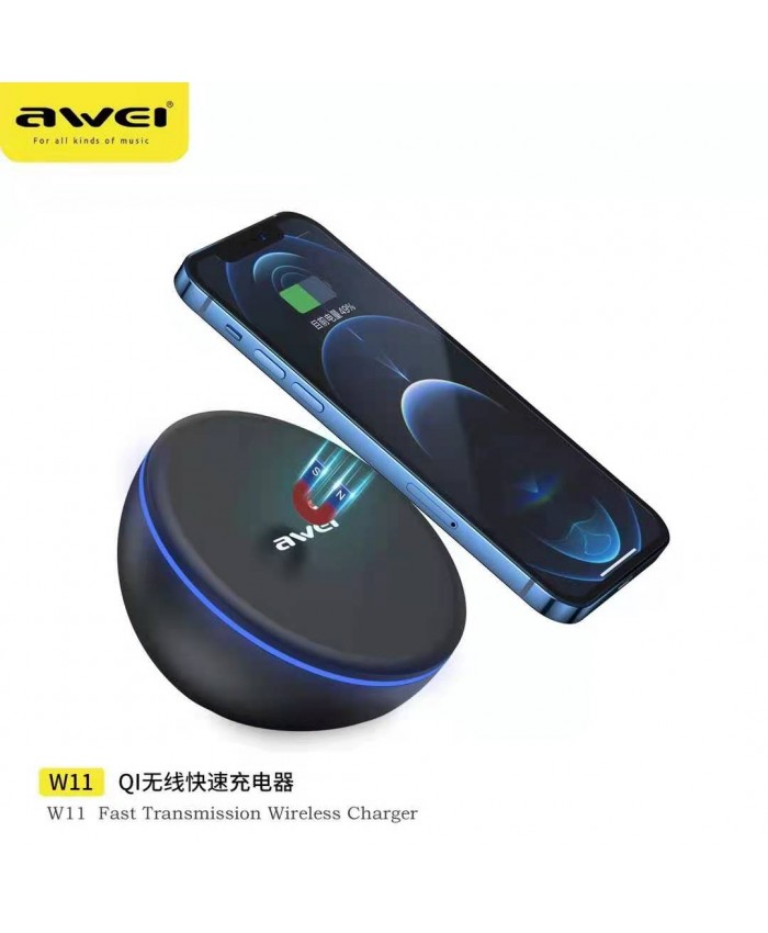 Awei W11 Magnetic Wireless Charger Qi Fast Charging 10W Qc3.0 PD