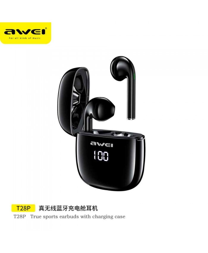 Awei T28P TWS Wireless Bluetooth Smart Touch Sports Dual Earbuds with Display Charging Case