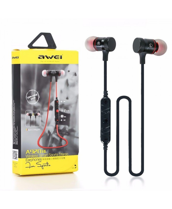 AWEI A922BL Update Version Bluetooth V4.1 Earphone Wireless Headphone With Microphone Neckband