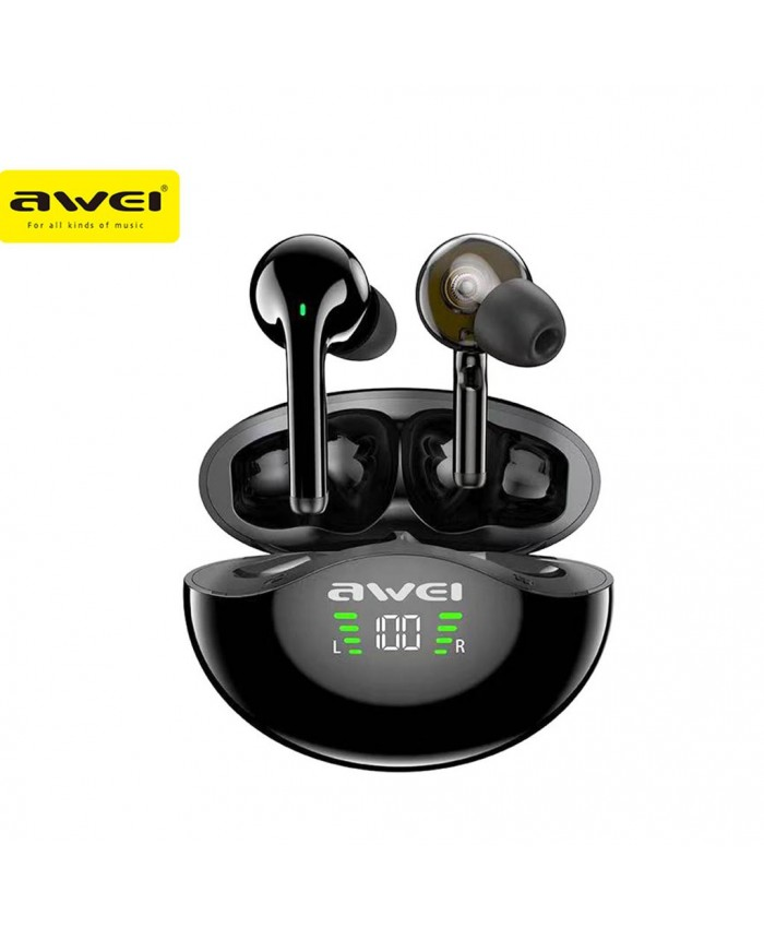 Awei T12P TWS Wireless Bluetooth Earbuds  Dual Driver Ergonomic Design With Built-In Microphone