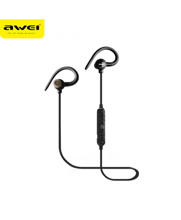 Awei A620BL Wireless Bluetooth Earphone Magnet Sports Ear-Hook Headphone with Microphone Noise Cancelling