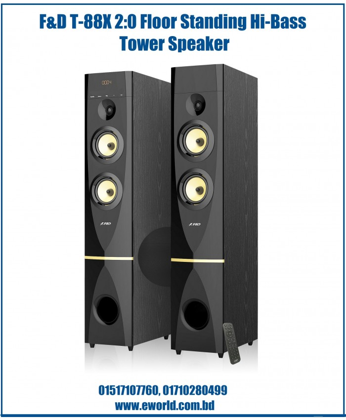 F&D 2:0 High Bass Digital Sound Tower Speaker T-88X
