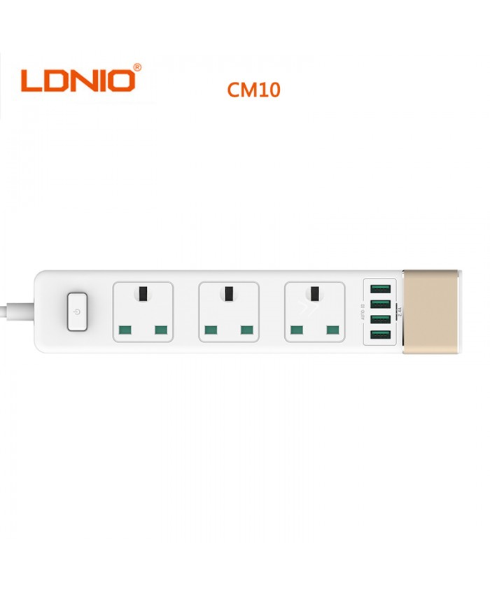 LDNIO 4 USB Ports Power Strip, 3 Way outlet Intelligent USB Charger Power Socket with Surge Protector