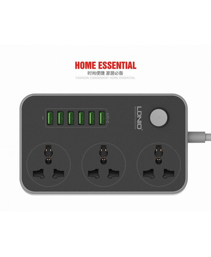 LDNIO 3-Outlet Surge Protector Power Strip 2 mtr Cord with 3.4A 6-Port USB Home Charging Station-6 port mobile charger