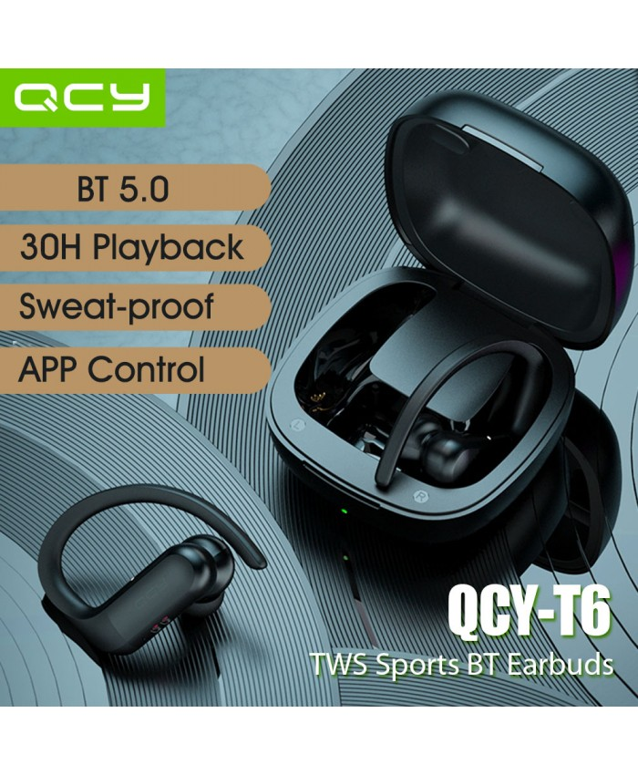 QCY T6 TWS Bluetooth 5.0 in-ear Touch control Headset with Microphone Low-latency 65ms Game Mode APP Control Support EQ Android iOS