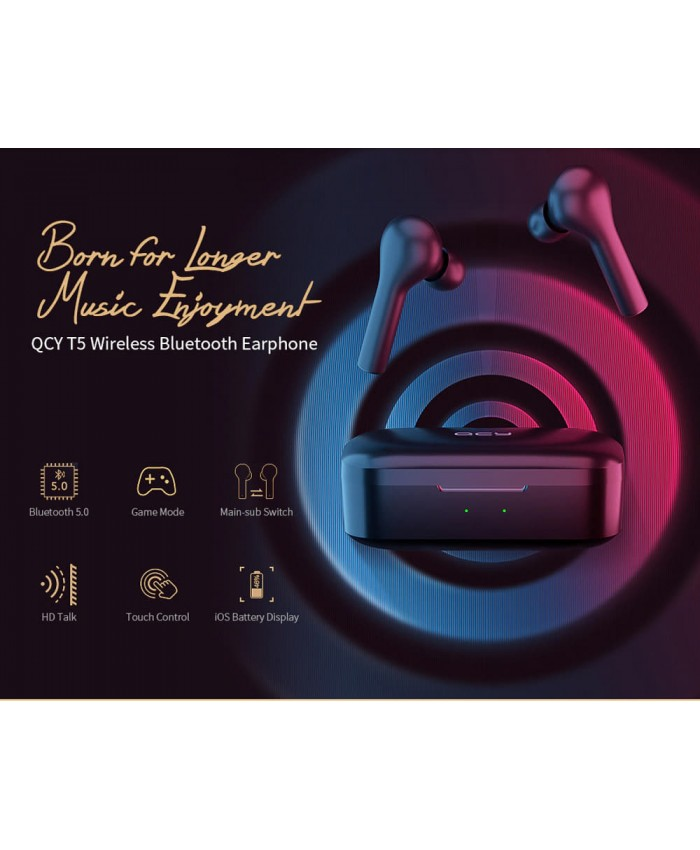 QCY T5 TWS Bluetooth 5.0 Earphones with Mic Binaural In-ear Low-latency 65ms Game Mode Touch Control 4.3g Stereo Earbuds for Android / iOS