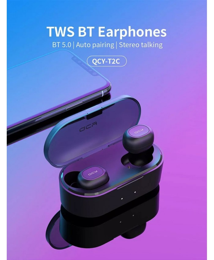QCY T2C 3D Stereo Wireless Bluetooth TWS Earbuds V5