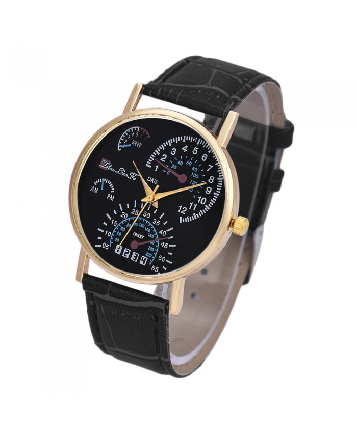 Mens Watches Fashion Montre Homme Leather Band Analog Quartz
