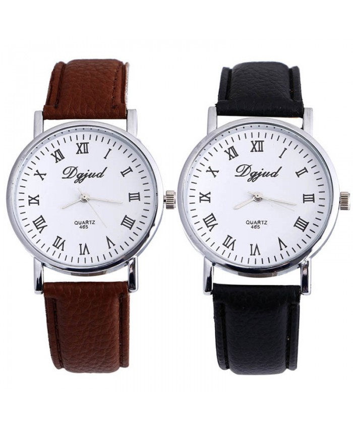 Luxury Neutral Faux Leather Sport Watch Analog Quartz Wrist
