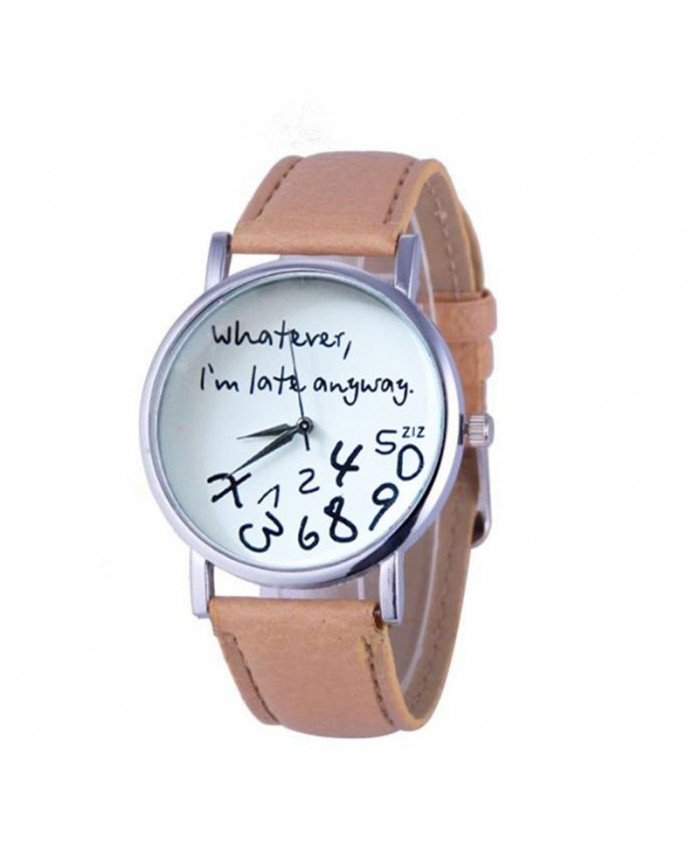 Men Leather Watch relogio feminino English Whatever I am Late Anyway Letter