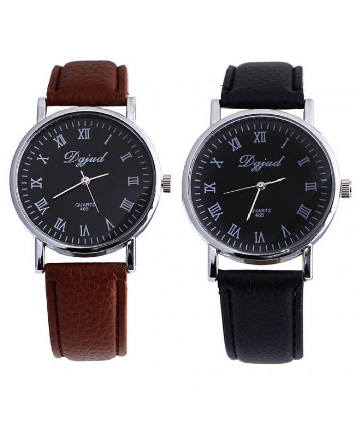 Men PU Leather Quartz Military Watch